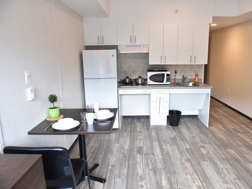 Each unit features a living/sleeping area, kitchenette and bathroom. Photo Dan Toulgoet