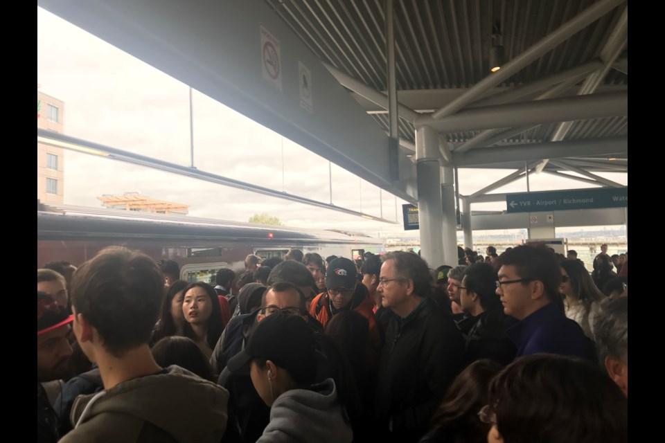 Crowds at Bridgeport Station, waiting to change trains. Photo: Alyse Kotyk