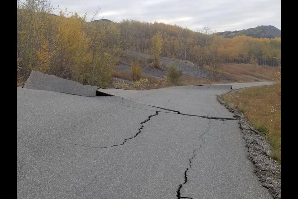 Damage to the Old Fort Road outside Fort St. John after a landslide, Sept. 30, 2018.