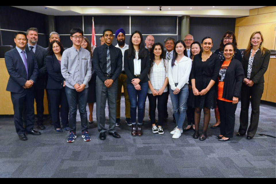 The Burnaby school district's 2017/18 Governor General's Academic Medal winners pose with school officials at a recent board of education meeting.