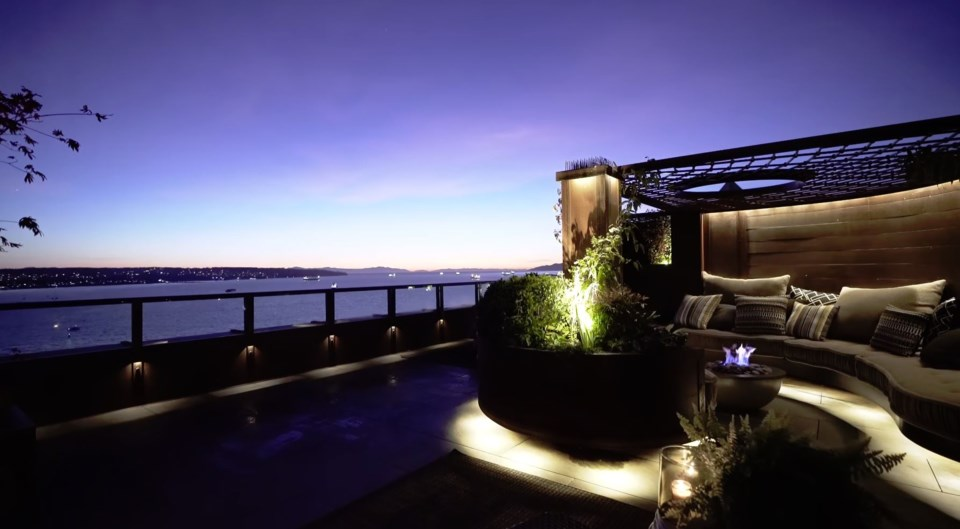 West End penthouse master bedroom terrace view night