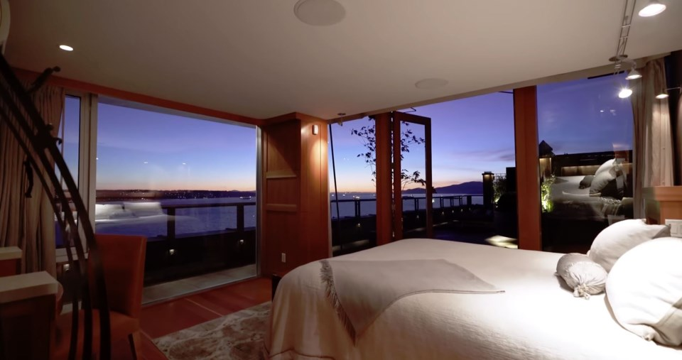 West End penthouse master bedroom night