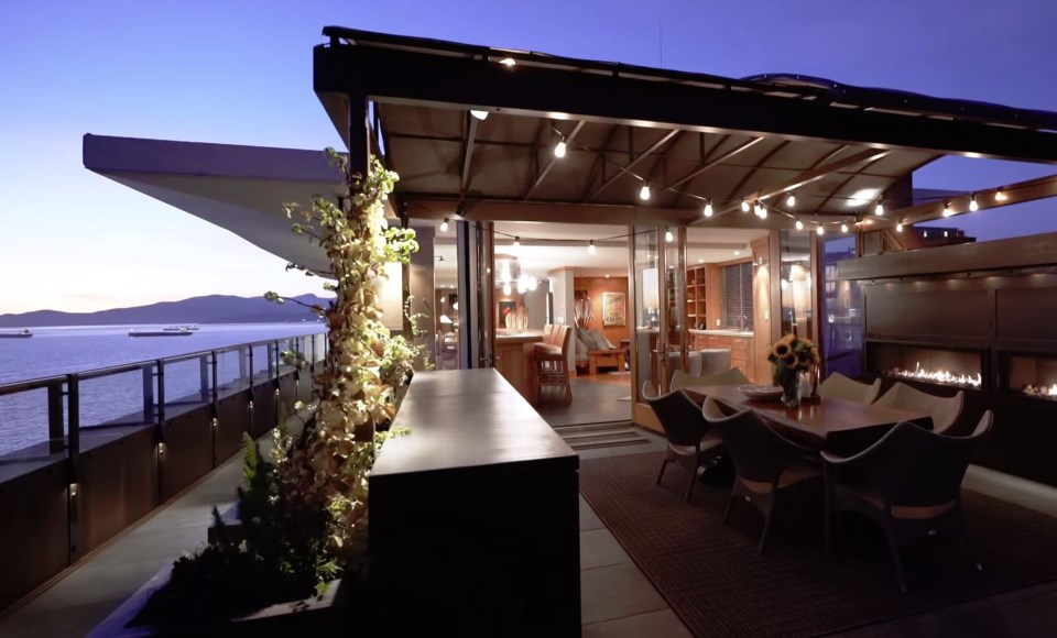 West End penthouse dining terrace view night