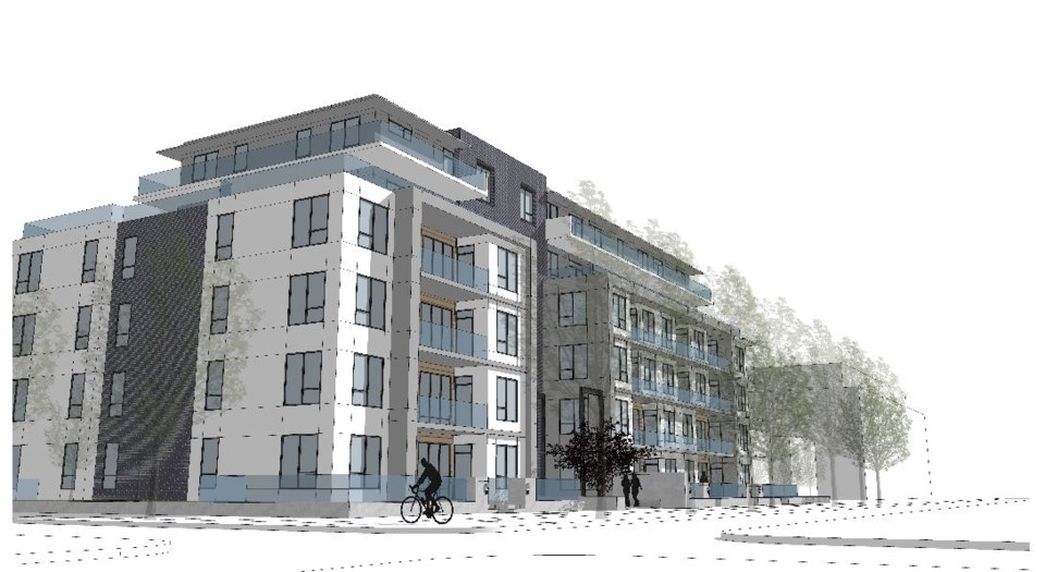 The rezoning proposal involves property from 4906 to 4970 Quebec St. This rendering shows the view s