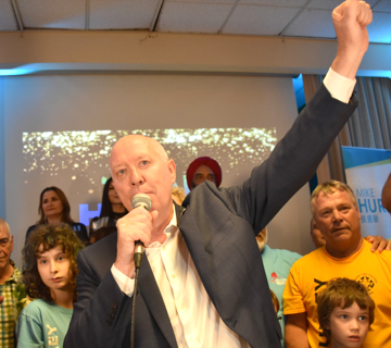 Burnaby mayor-elect Mike Hurley speaks to his supporters Saturday night.