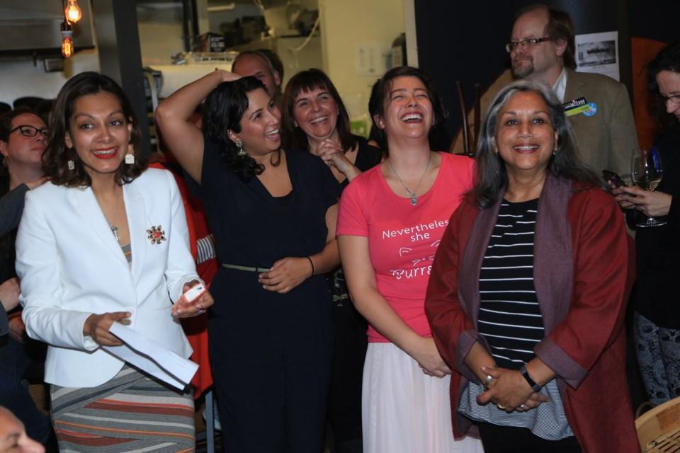 From left, Anita Ansari, Gurveen Dhaliwal, Mary Trentadue, Nadine Nakagawa and Chinu Das celebrate at the Team Cote victory party.