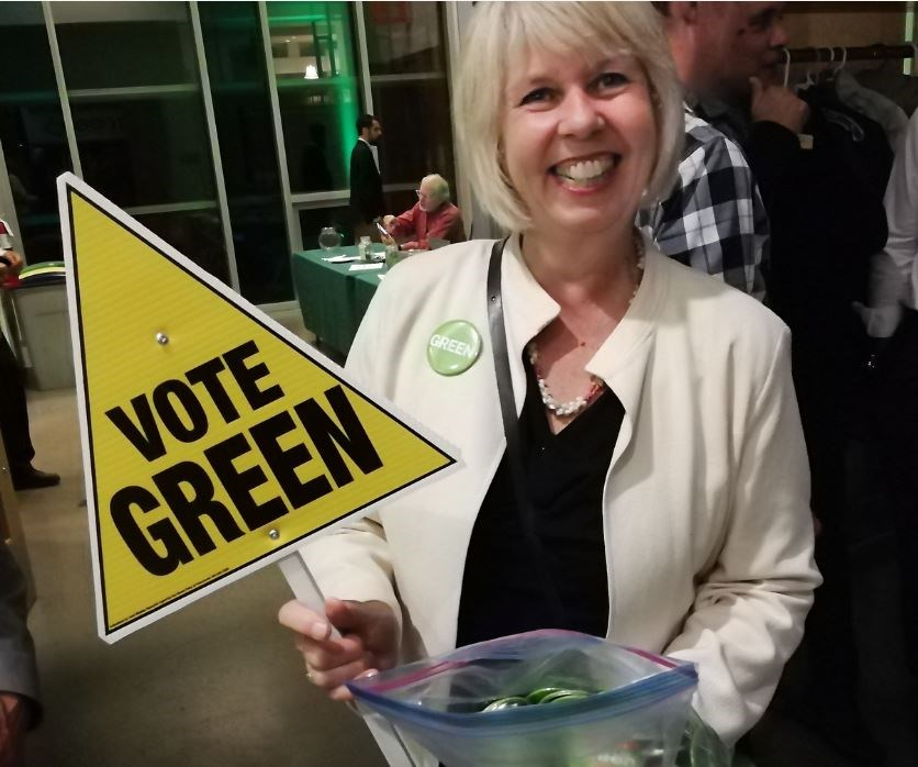 The Greens' re-elected councillor Adriane Carr was all smiles Saturday night. Once again she receive