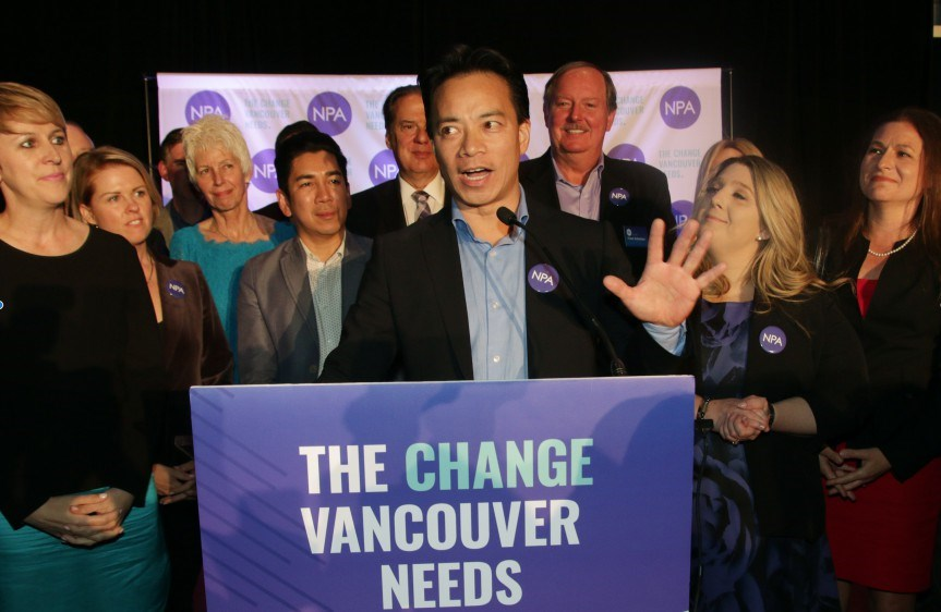 Ken Sim thanks supporters at the end of a very long election night. Photo Rob Kruyt