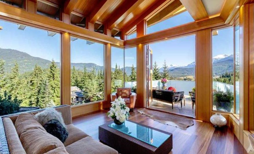 Whistler cliff mansion living view