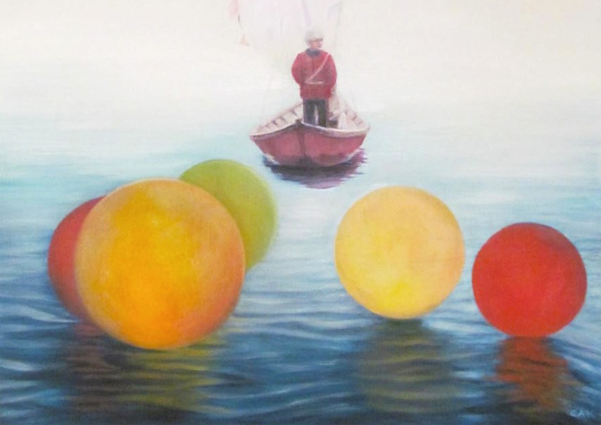 E. Andrea Klann: At Sea (cropped). The artist will be at the gallery on Saturday, Oct. 27 at 2 p.m.