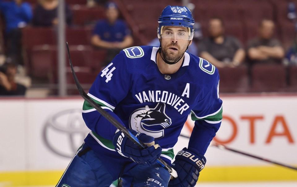 Erik Gudbranson skates for the Vancouver Canucks during the 2018-19 NHL season.