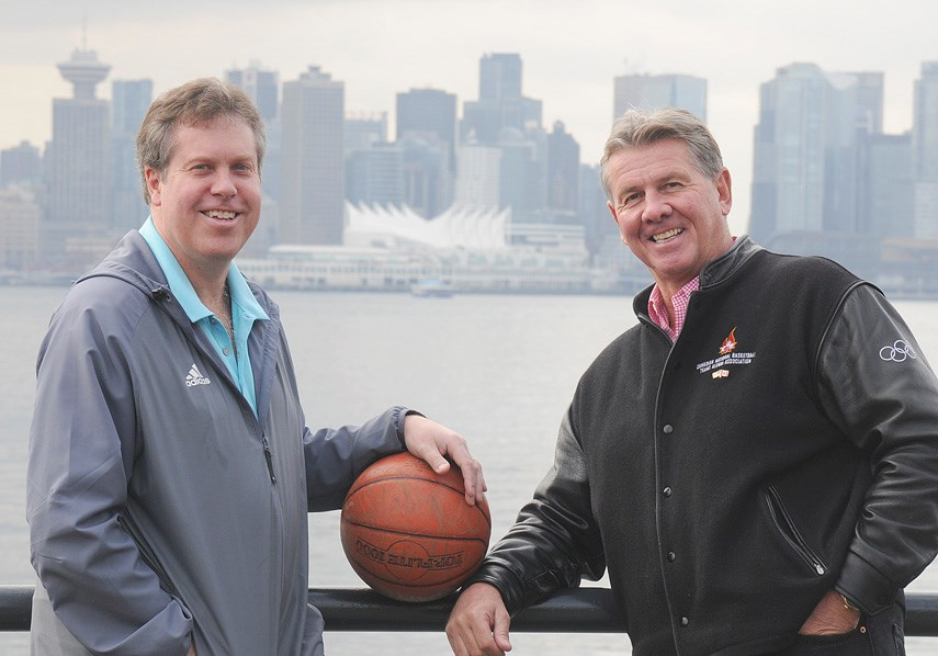 Basketball in the Vancouver Convention Centre? Local organizers David Munro and Howard Kelsey helped bring this unique idea to life, with top NCAA teams coming to town for the Vancouver Showcase running Nov. 18-24. photo Mike Wakefield, North Shore News