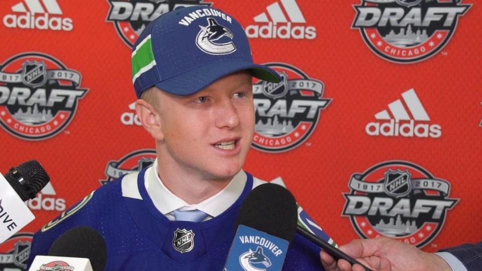Jack Rathbone at the 2017 NHL Entry Draft.