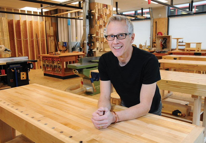 Instructor Jeremy Tomlinson welcomes students to the Community Woodworking Studio he created in partnership with the North Vancouver Recreation and Culture Commission. photo Cindy Goodman, North Shore News