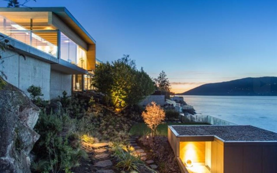 West Vancouver Modernist house exterior cliff