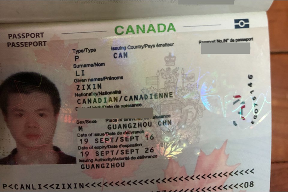 A copy of Zixin Li's Canadian passport, provided by his family, shows that Li was issued the passport by the Canadian government in September 2016. Photo submitted