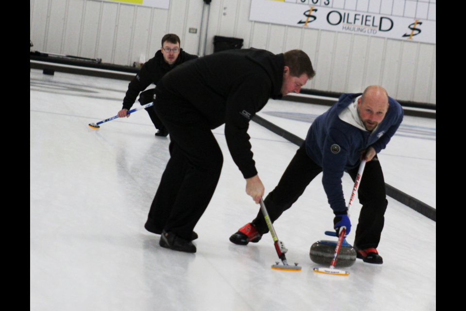 GP's Team Powell (Graham Powell, Troy Given, Tom Sallows, and Les Sonnenberg — Sonnenberg not pictured here) were the competitive division winners, taking home $2,500 at the 46th annual DC Curling Club Cashpiel.