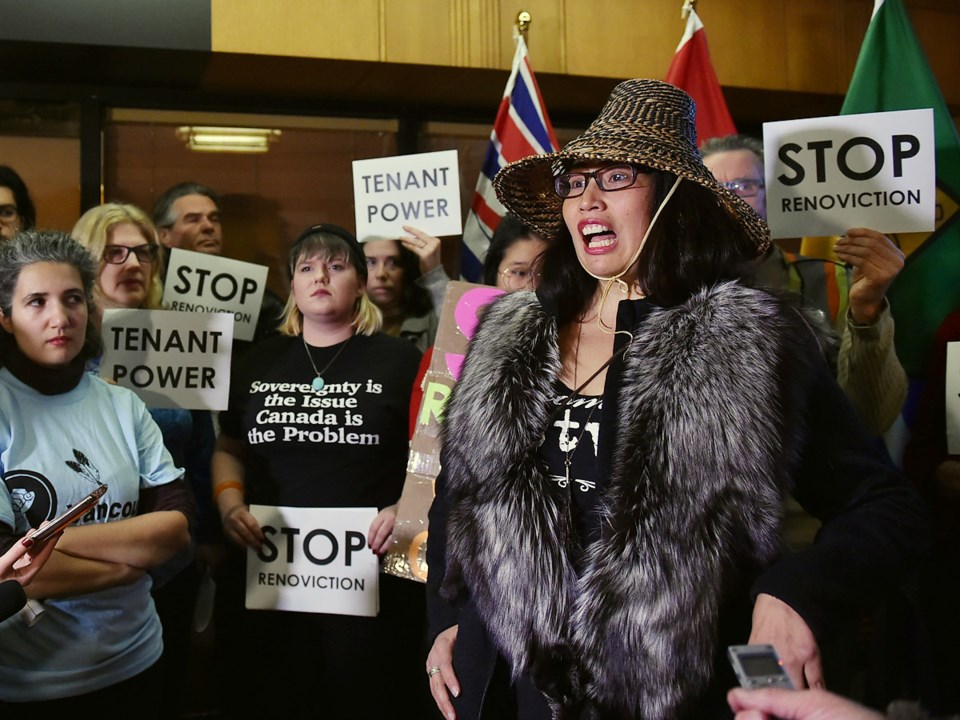 Dozens of renters gathered at city hall prior to the vote on the renovictions motion. Photo Dan Toul