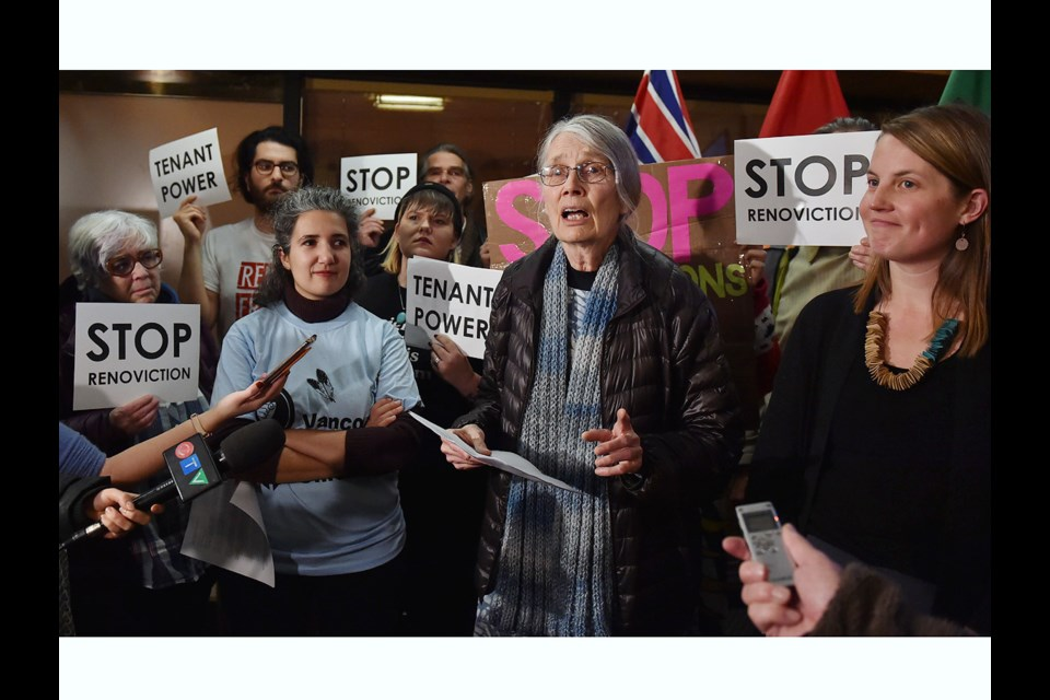 COPE Coun. Jean Swanson spoke to renters before the council vote on her renoviction motion. Photo Dan Toulgoet