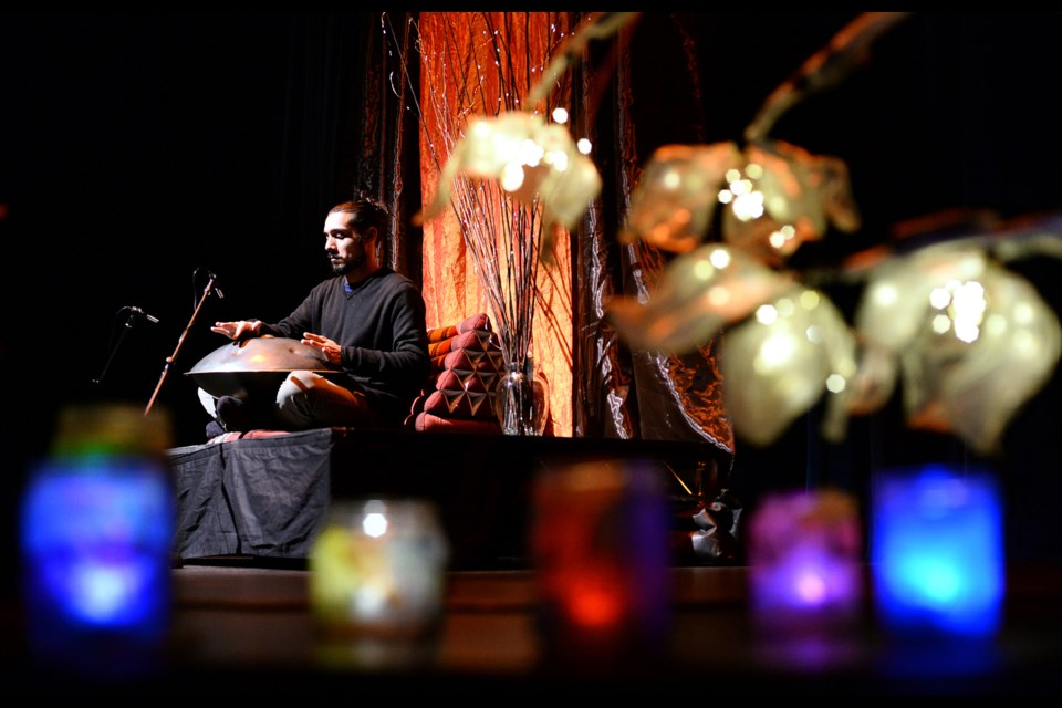 Zamir Dhanji performs on the hang drum.