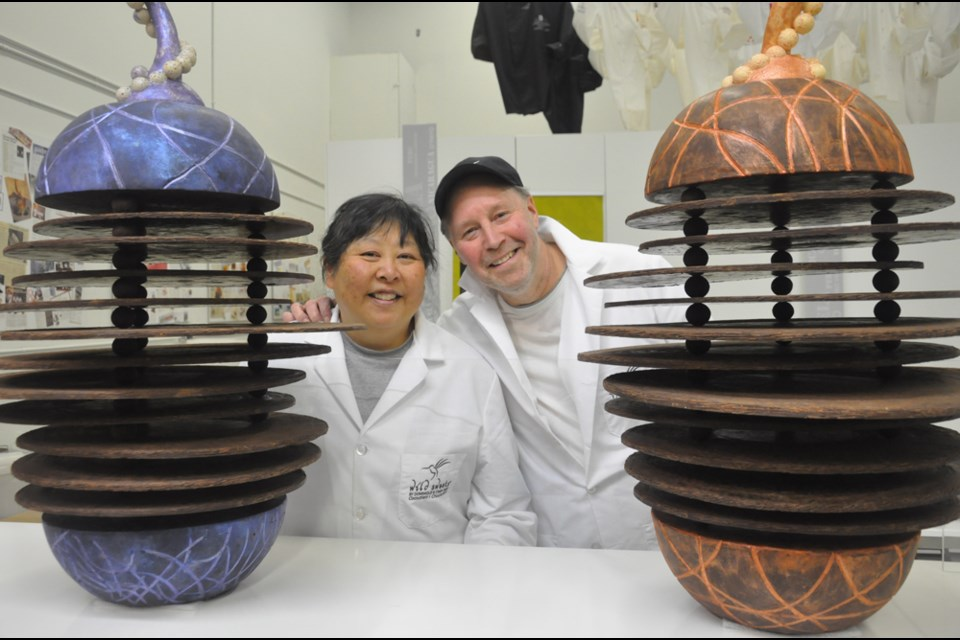 Cindy and Dominique Duby showcase one of their chocolate art displays. Their Richmond business, Wild Sweets, is the only Canadian artisan science-based cocoa bean-to-bar chocolate maker. Daisy Xiong photo