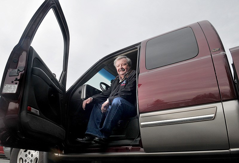 Larry Coleman says his big 4-wheel drive Silverado pickup truck is handy in his duties as a volunteer for the Cancer Drivers Society, especially when the weather turns nasty.