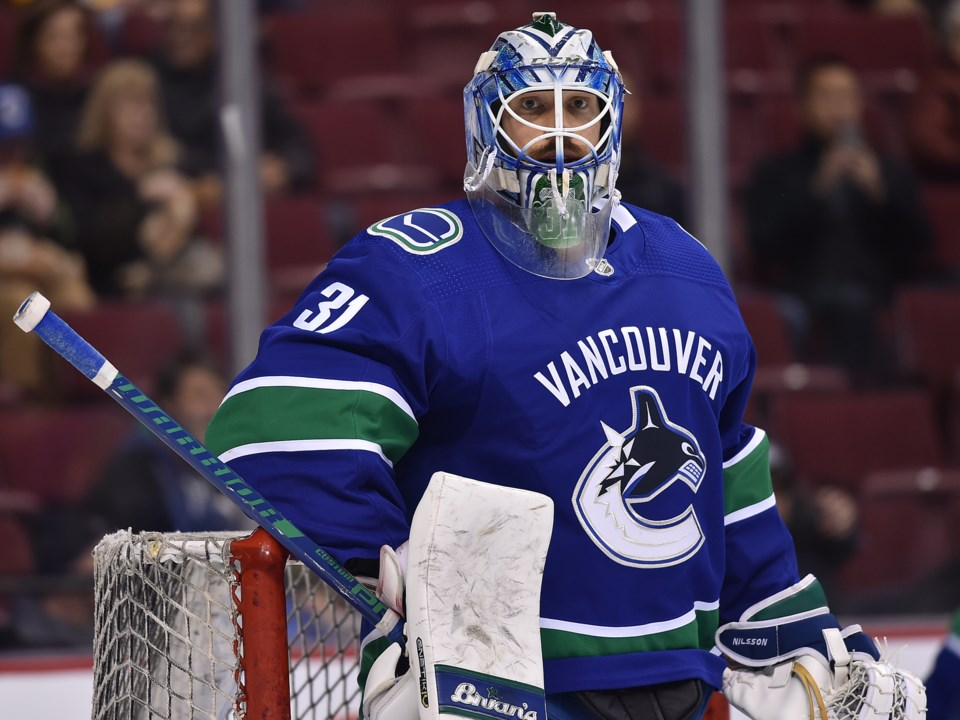 Anders Nilsson in net for the Vancouver Canucks in the 2018-19 season.