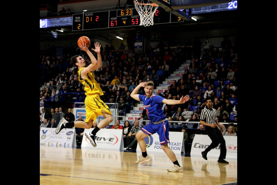 With laser-like accuracy, Burnaby South Rebels' Jusuf Sehic puts up another two points during the 2018 High School 4-A boys basketball championship final at the Langley Events Centre. The Rebels proved unstoppable, defeating Semiahmoo 80-72 for the school's first B.C. title since 1979.