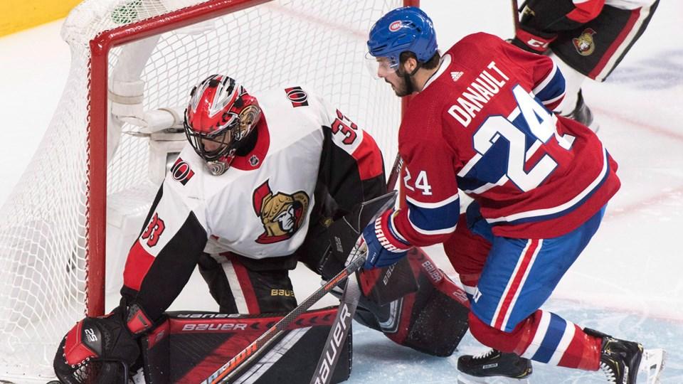 Mike McKenna tending goal for the Ottawa Senators.