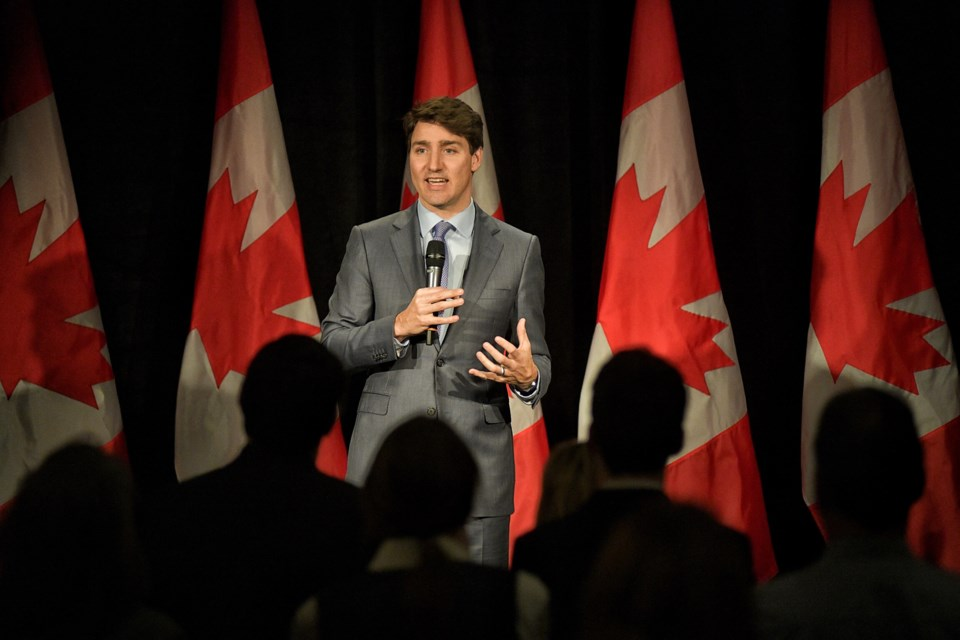 Prime Minister Justin Trudeau speaks to supporters at a Liberal fundraising lunch at the Coast Kamloops Hotel and Conference Centre on Wednesday (Jan. 9).