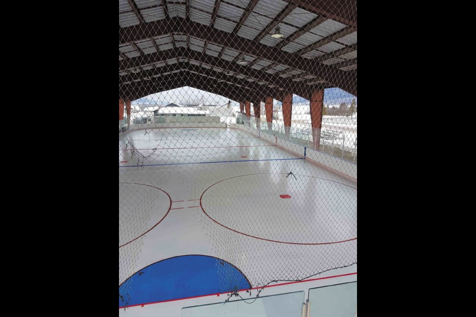 After days of work, the ice at Ernie Sam Memorial Arena on Nak'azdli Whut'en territory in Fort St. James is almost ready for Sunday's B.C. Hockey Major Midget League regular-season game between the Cariboo Cougars and Vancouver Northeast Chiefs. – Handout photo courtesy of Trevor Sprague