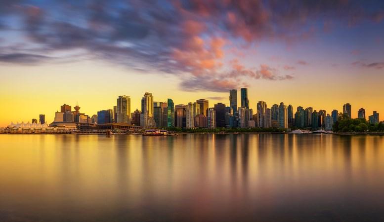 Vancouver skyline reflection sunset