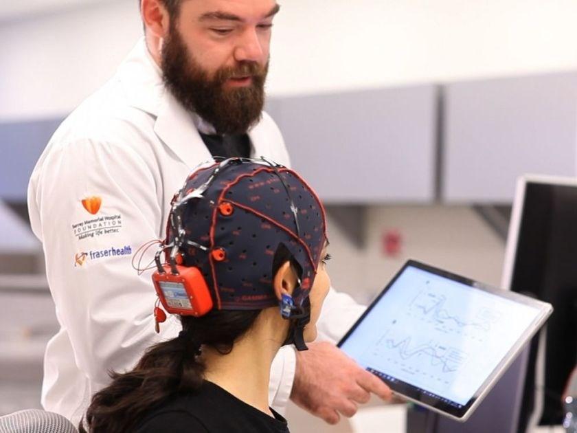 Simon Fraser University PhD student Shaun Fickling uses Brain Vital Signs to monitor brain function. photo supplied