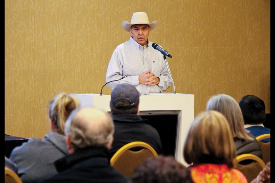 Blueberry River First Nation Chief Marvin Yahey speaks about his nation's treaty land entitlements to an audience in Fort St. John on January 25, 2019.
