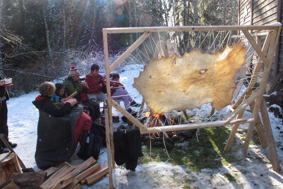 Squamish Elementary students learn to tan deer hides_4