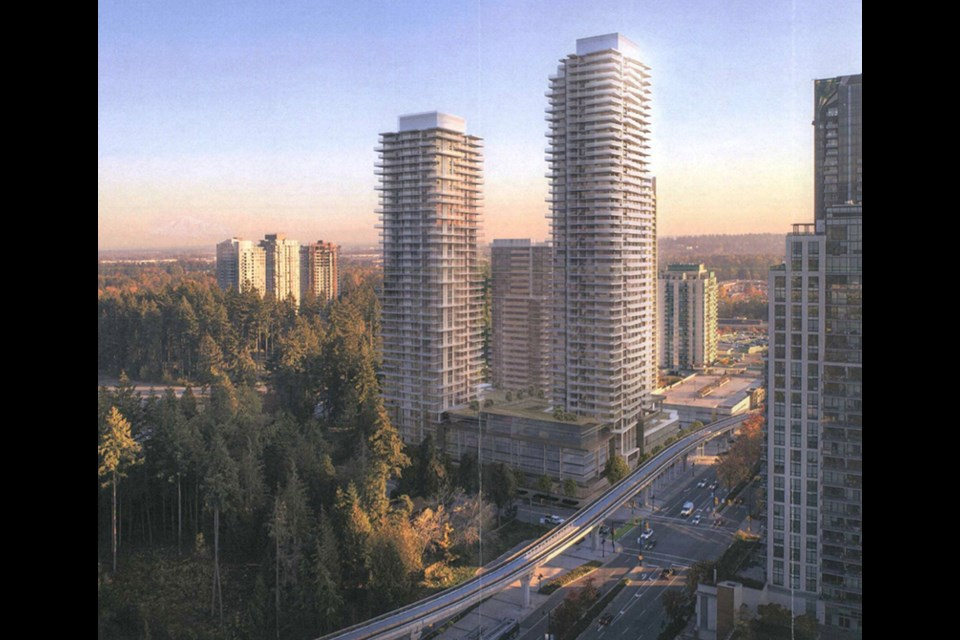 A proposal from Onni, if approved, would see tower of 49, 45 and 25 storeys constructed at Pinetree Way and Glen Drive.