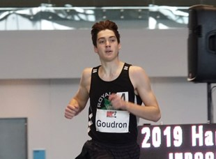 Royal City Track and Field's Ryan Goudron picked up a pair of medals at the Harry Jerome Indoor meet last week in Richmond, including a gold in 1000m.