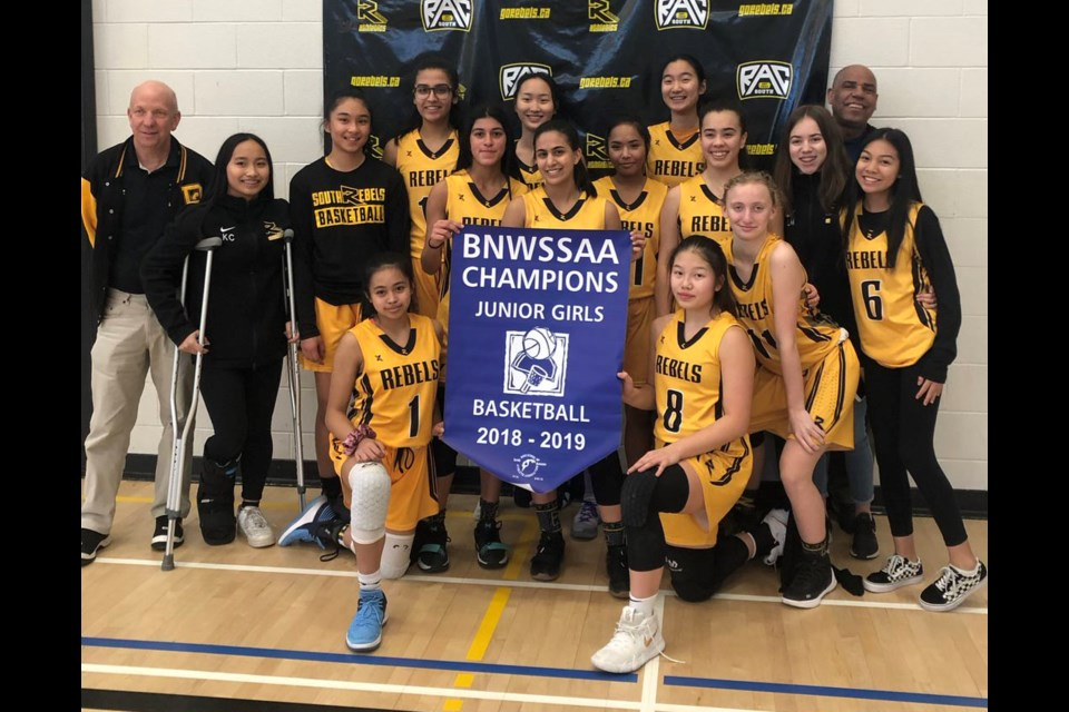 By edging New Westminster 39-29, the Burnaby South Rebels captured the 2019 junior girls basketball league banner. It was part of a successful season on the hardwood for the program.
