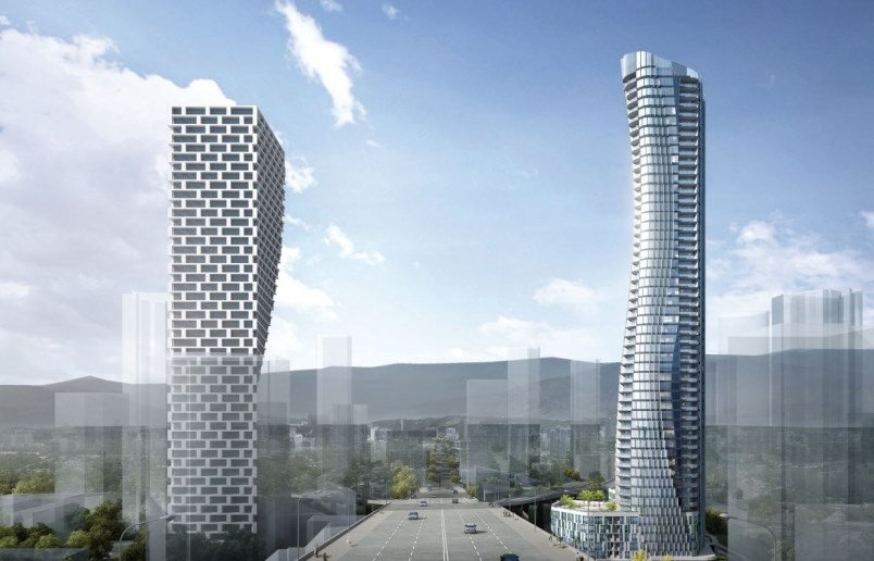 In this rendering, the 54-storey tower proposed for 601 Beach Ave. is on the right. GBL ArchitectsRe