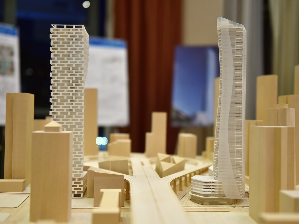 """This model shows both """"Granville Gateway"""" towers — Vancouver House is on the left, while the tower p"""