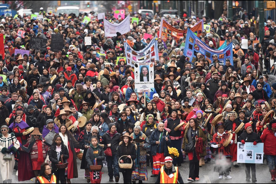 Thousands took part Thursday in the 28th annual Women's Memorial March, honouring all the women from Vancouver's Downtown Eastside who have fallen victim to violence. Photo Dan Toulgoet