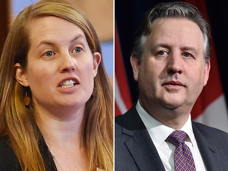 OneCity Coun. Christine Boyle and Mayor Kennedy Stewart were in debate Wednesday at city hall over the need for a public inquiry into money laundering in B.C. Photo Dan Toulgoet