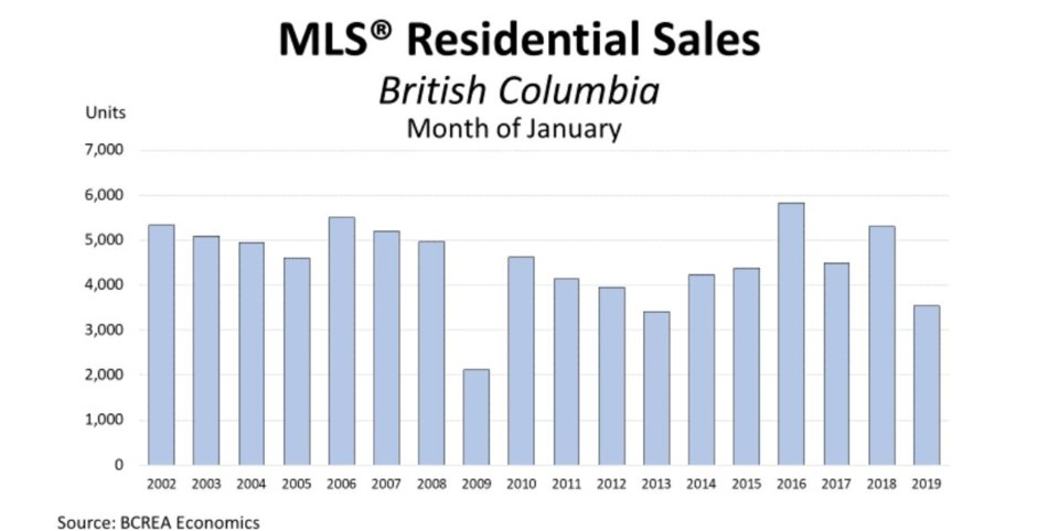 BCREA January sales year by year