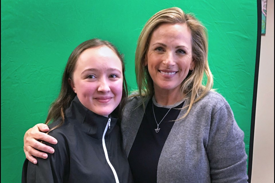 B.C. Provincial School for the Deaf student Madison Edney poses with Oscar-winning actress Marlee Matlin, who made an impromptu visit to the Burnaby school last month.