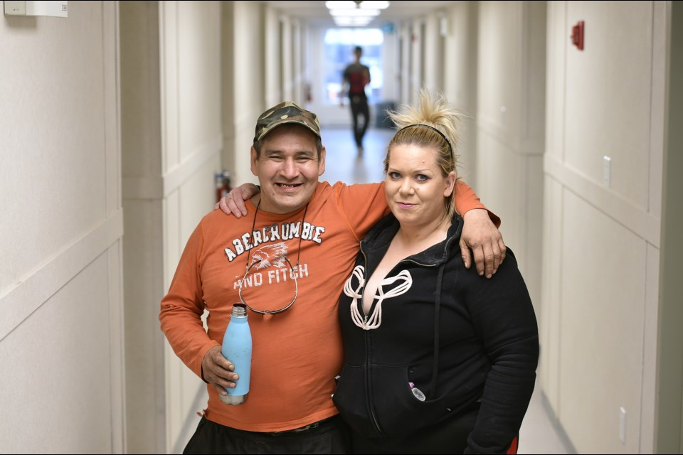 Mitchell Lagimodiere and Kelli Lubbers are tenants at the Sarah Ross House modular housing building on Kaslo Street. Photo Dan Toulgoet