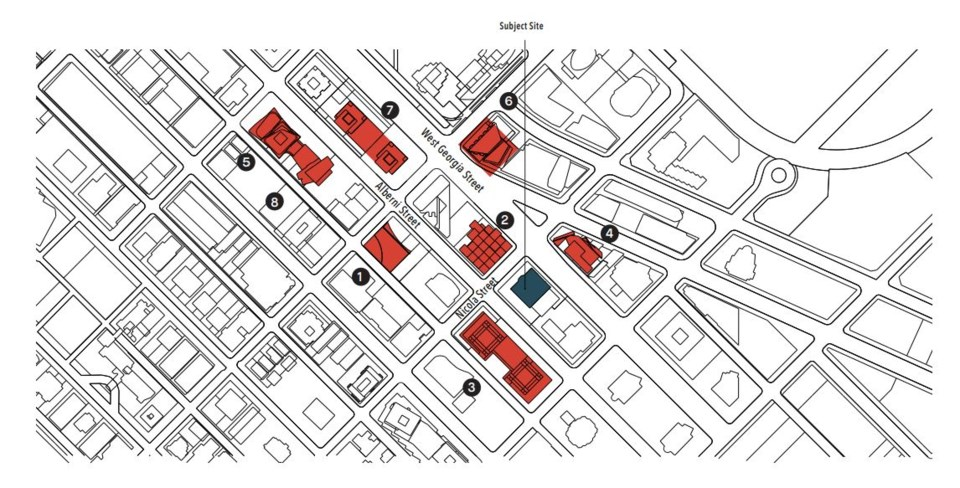 The site of the proposed tower along with other neighbourhood proposals.
