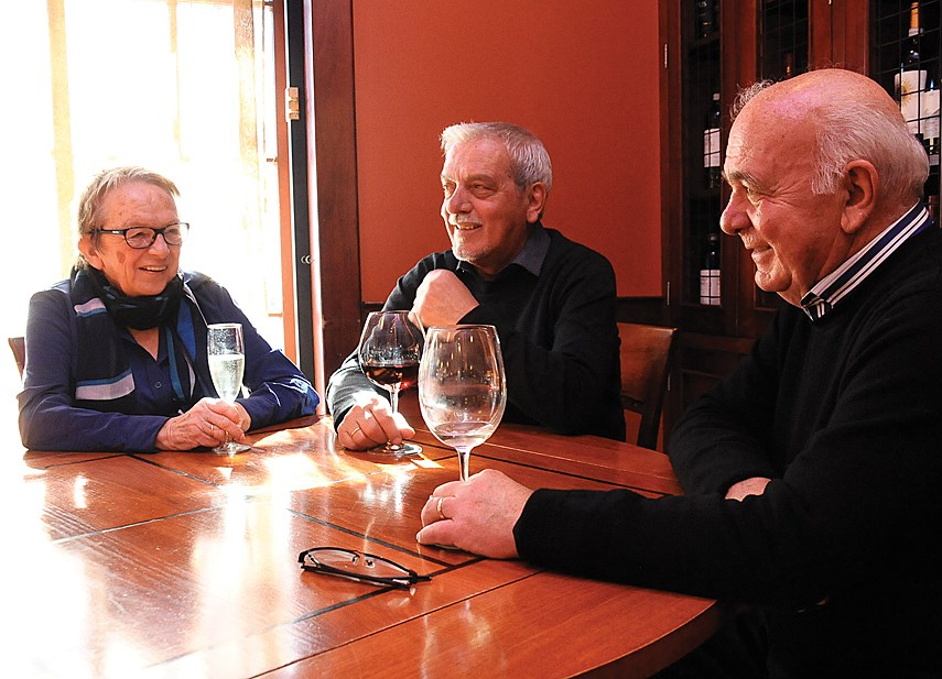 Edith, Antonio and Mario Corsi toast to their more than 40 years of contributing to the local restaurant scene, from the site of their original restaurant called Corsi Trattoria (currently Gusto di Quattro) in Lower Lonsdale.