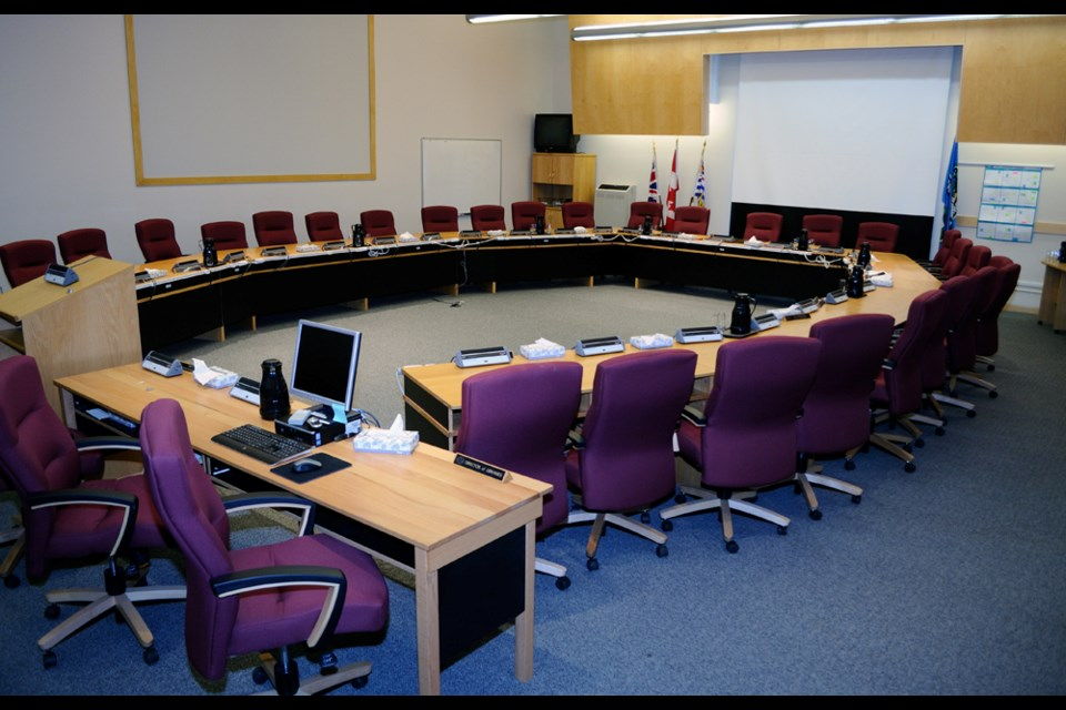 The Thompson-Nicola Regional District boardroom in the TNRD Building in Kamloops, downtown at Victoria Street and Fifth Avenue.