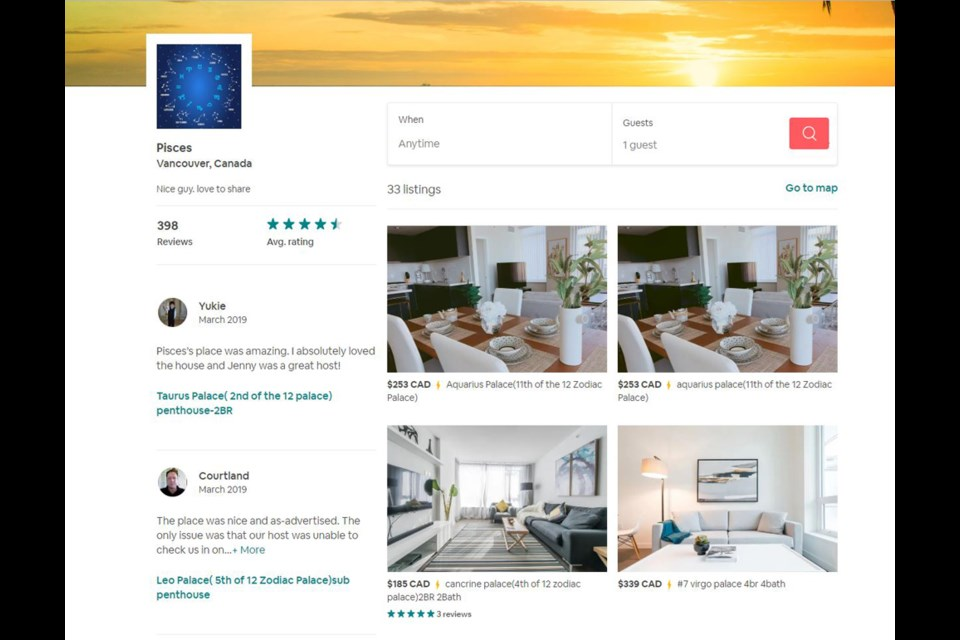 An Airbnb user called Pisces has 26 listings in Richmond and seven listings in Vancouver and Burnaby. Photo: Airbnb screenshot