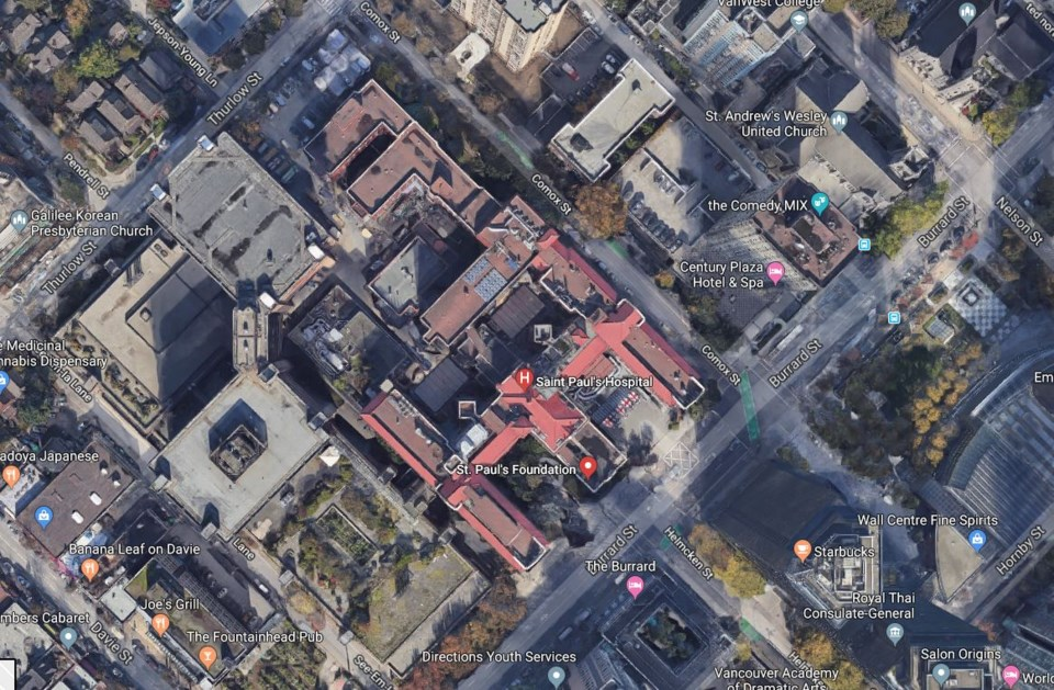 Satellite view of St. Paul's Hospital.